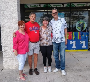 Tom, Brenda, Dan and Betty in fron tof Dollar Tree