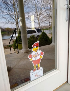 Fredbird cutout on door.
