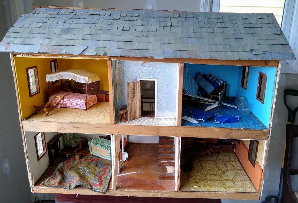 Dollhouse in disrepair.