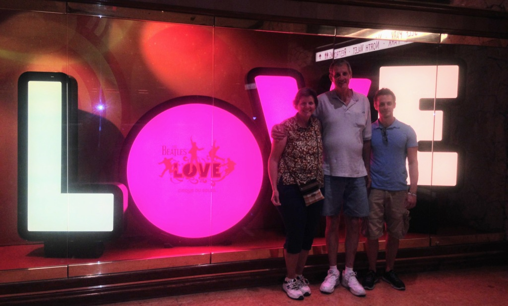 Love show sign - from the Cirque du Soleil in Las Vegas.