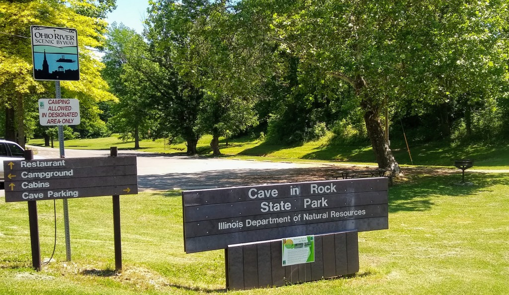 Cave in Rock State Park sign.