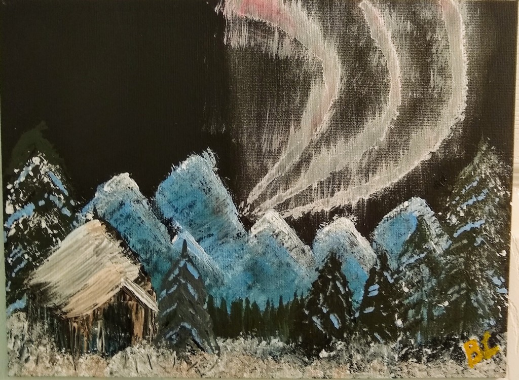 Author's painting of the Aurora Borealis as per Bob Ross instructional video