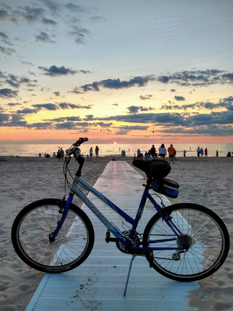 Bicycle at sunset.