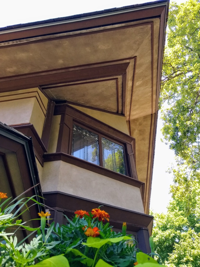 Upper corner of Frank Llloyd Wright house in Kankakee, Illinois