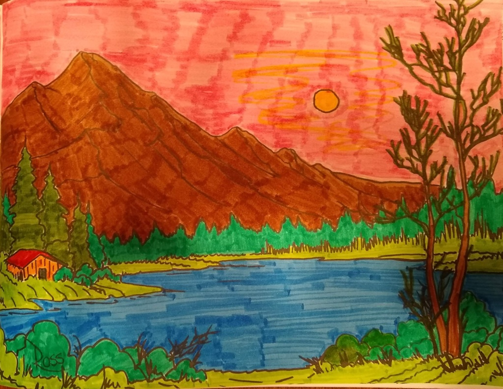 Colored picture from Bob Ross Adult Coloring book. Cabin by a lake.