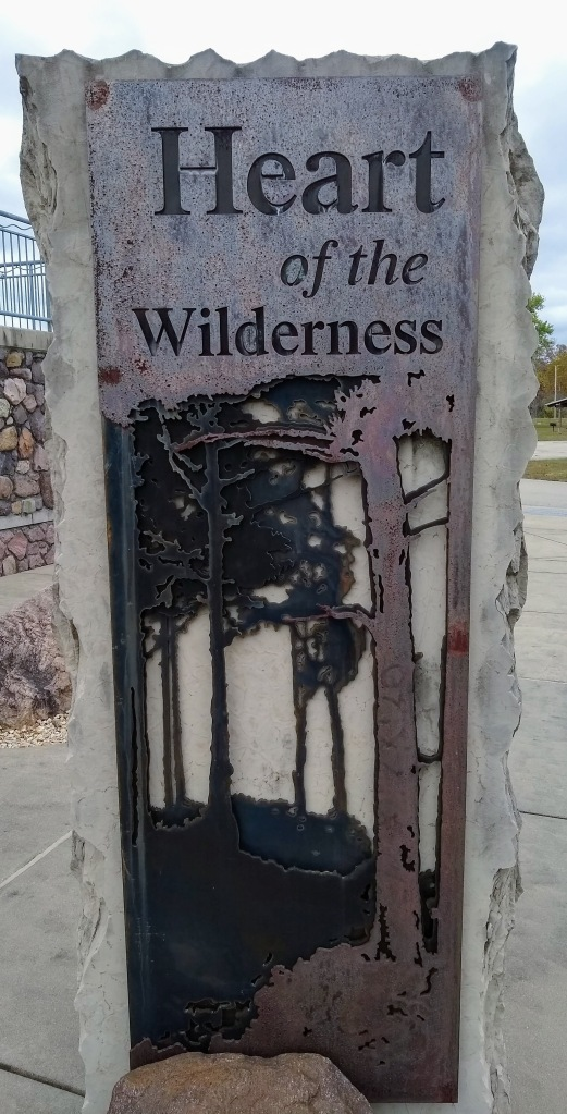 Heart of the Wilderness outdoor sign in front of Johnson Shut-Ins Visitor Center