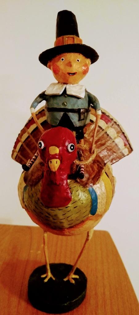 Pilgrim riding on a turkey
