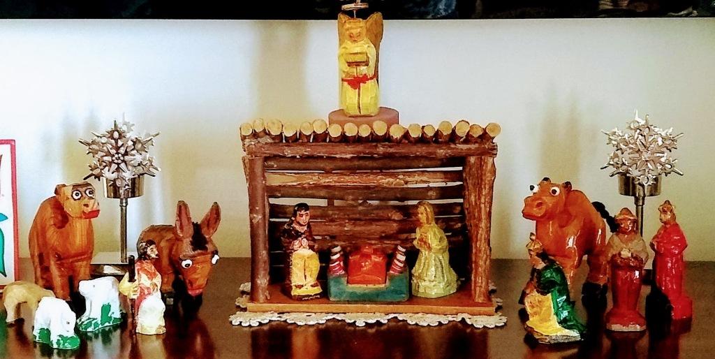 Carved wooden nativity set