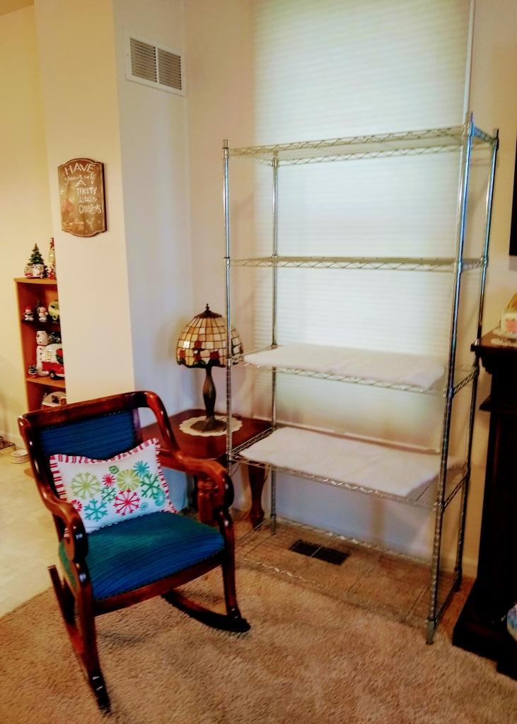 Shelf before.  Bright silver.