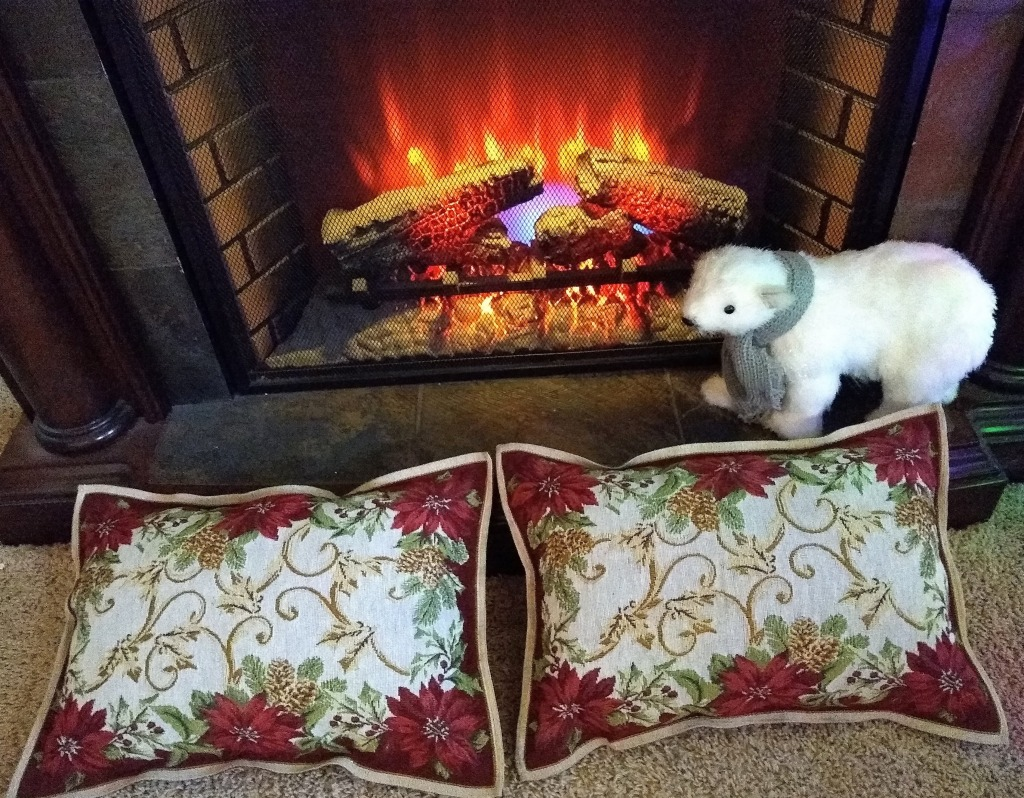Two matching pillows in front of the fireplace.