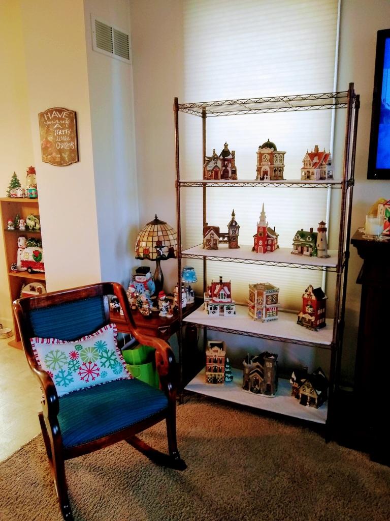 Shelf with display houses.