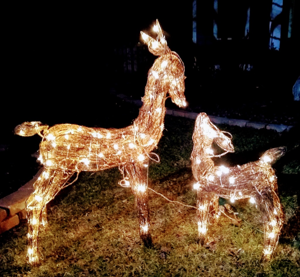Two lighted deer.  One is a baby.