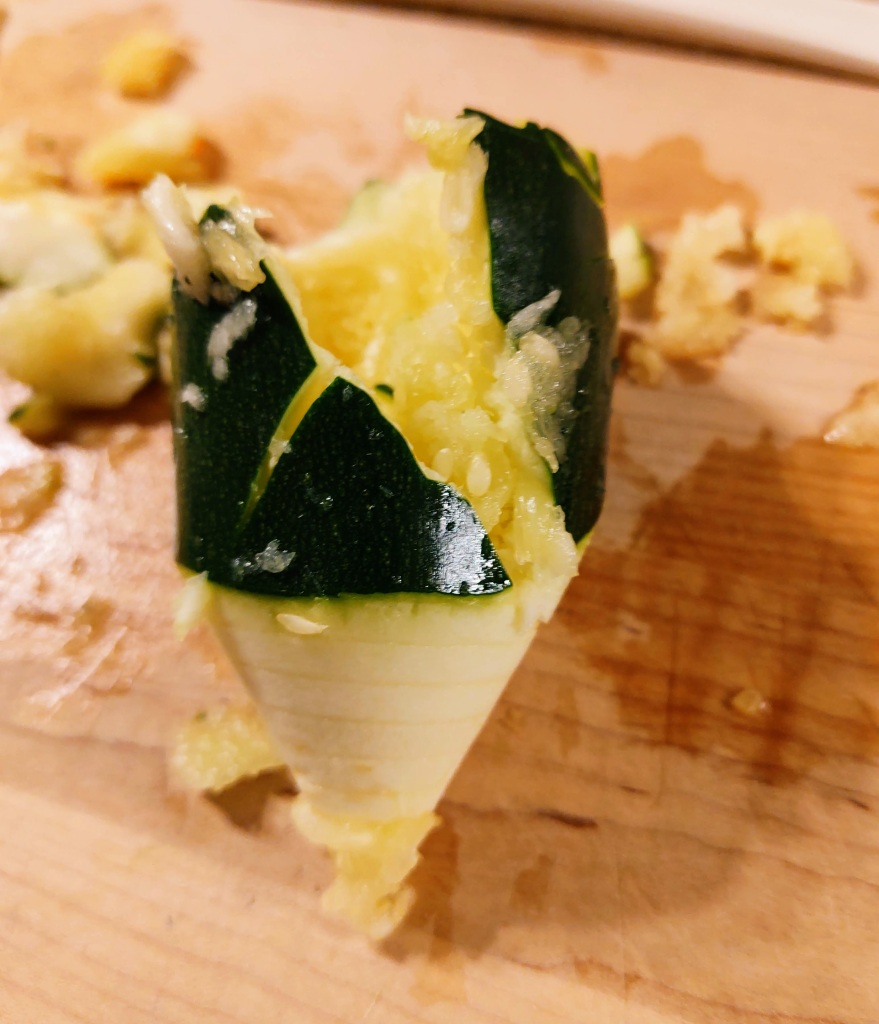 End of zucchini after being put through the spiralizer.