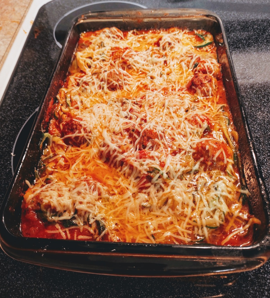 Cooked Meatball Zoodles casserole.