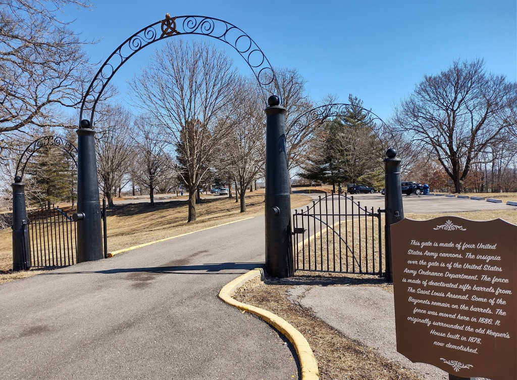 Historical gate made of United States Army cannons and rifle barrels at Mississippi River overlook in Jefferson Barracks County Park in St. Louis Missouri.