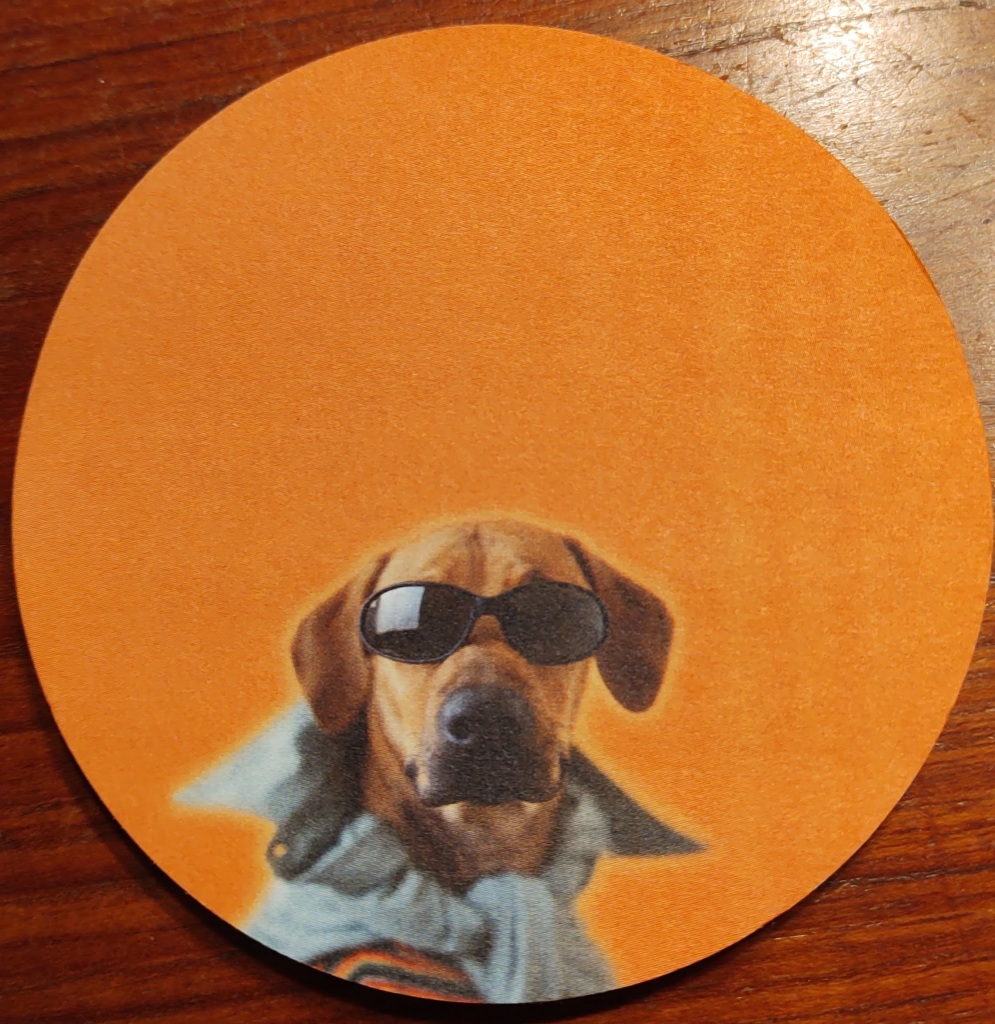 Note paper with picture of a dog wearing sunglasses.