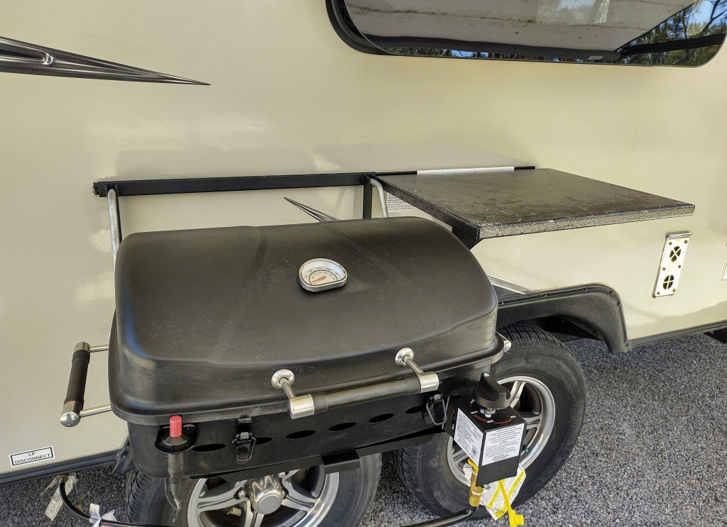 Outdoor grill on side of Micro Lite