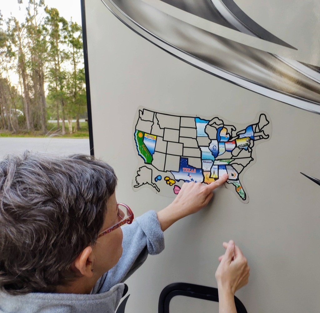 Betty updating the RV state sticker map.