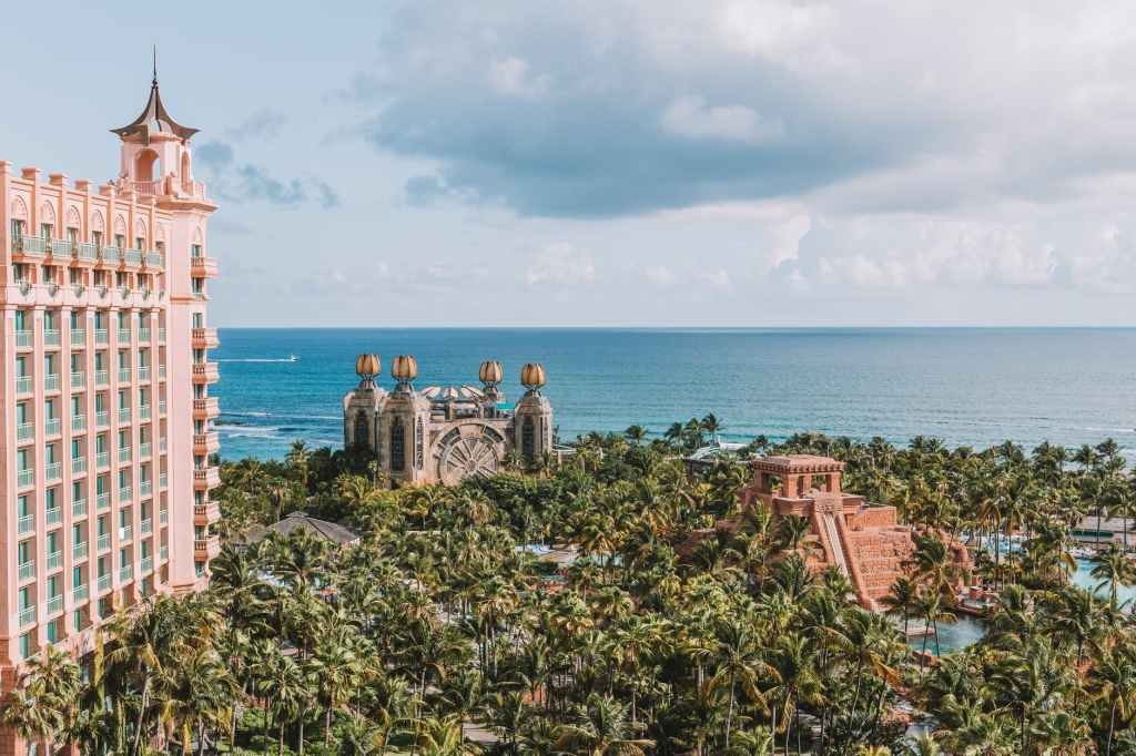 Atlantis resort with ocean in the background.