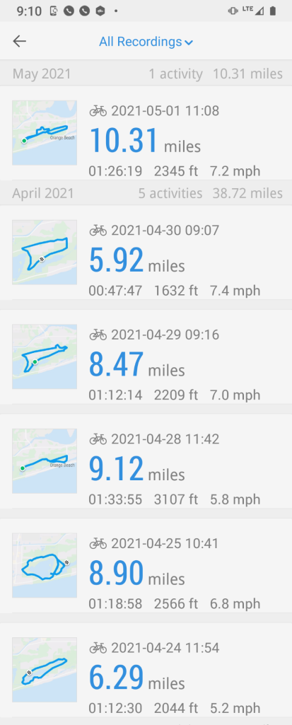 Pace app download of bike rides.