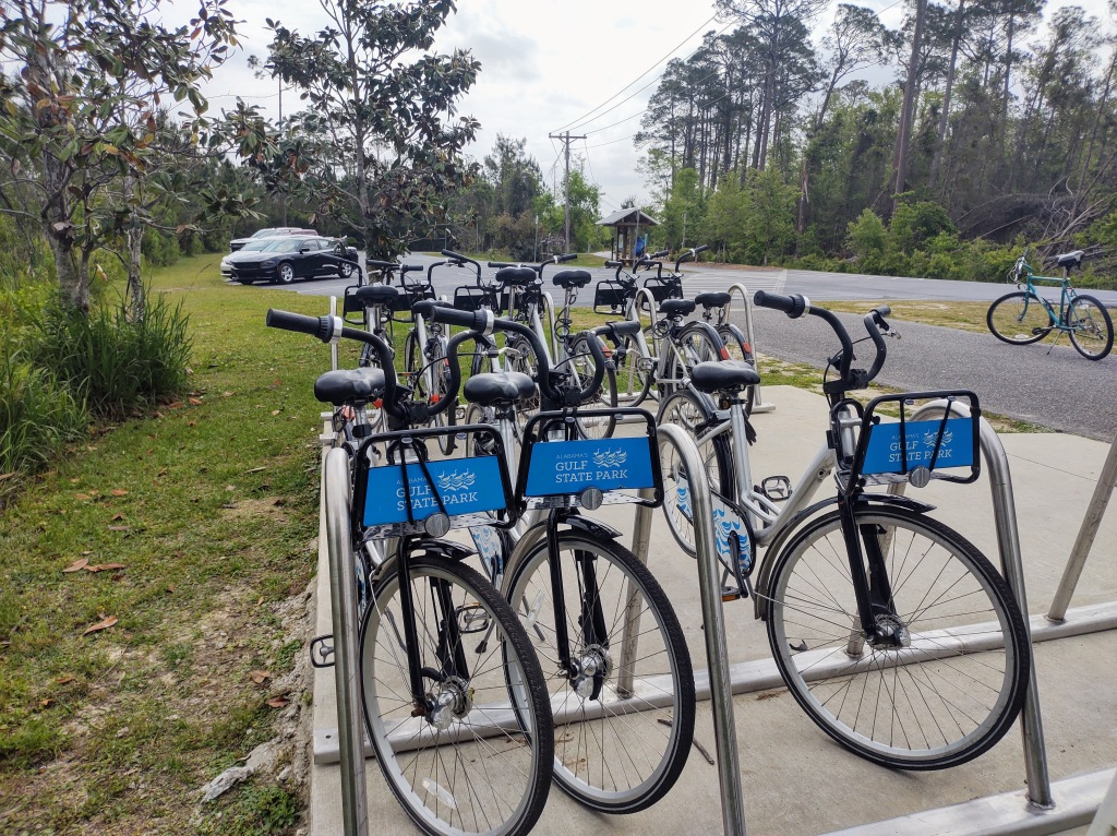 Bicycle Share Station on the trail somewhere.