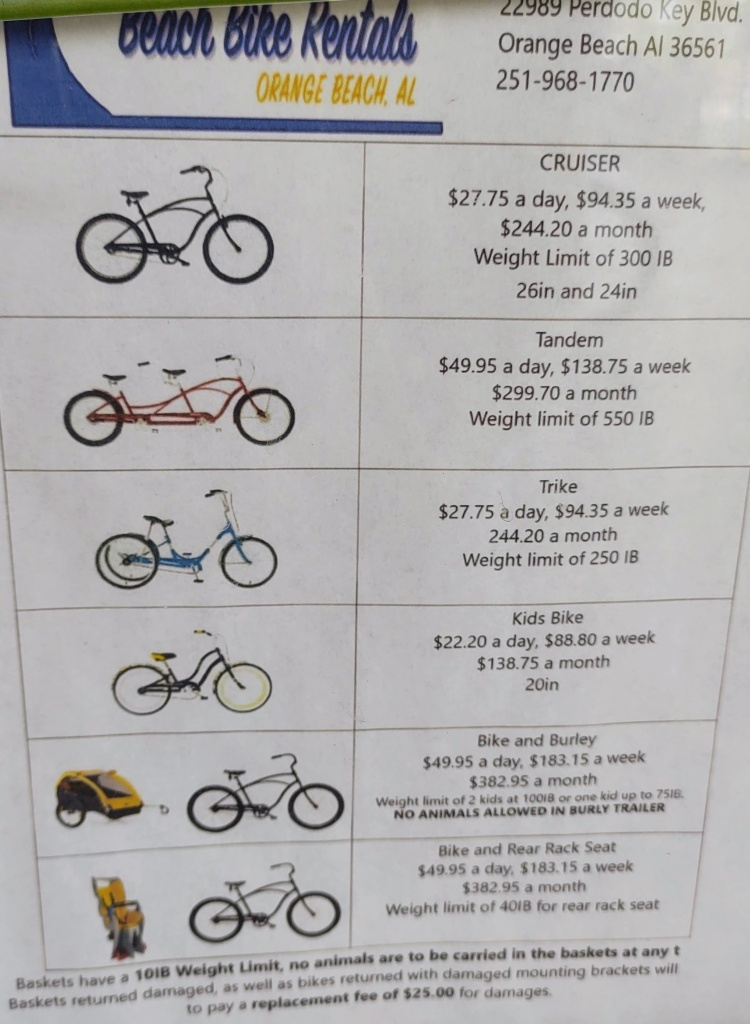 Flyer listing several kinds of bikes to rent, along with the cost of each.