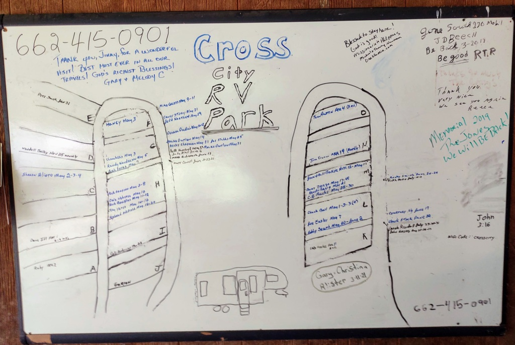 White board with drawing of campground with names on campsites.