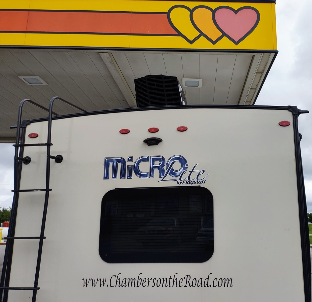Back of Micro Lite camper under Love's gas station overhang.