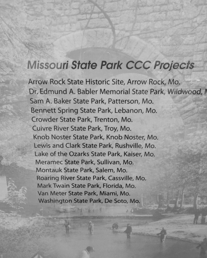 List of Missouri State Park CCC Projects