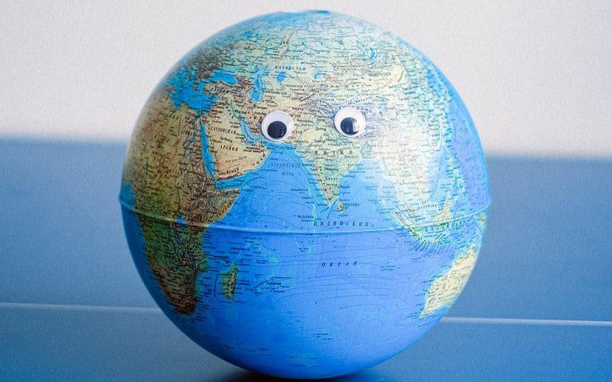 Globe with eyes.