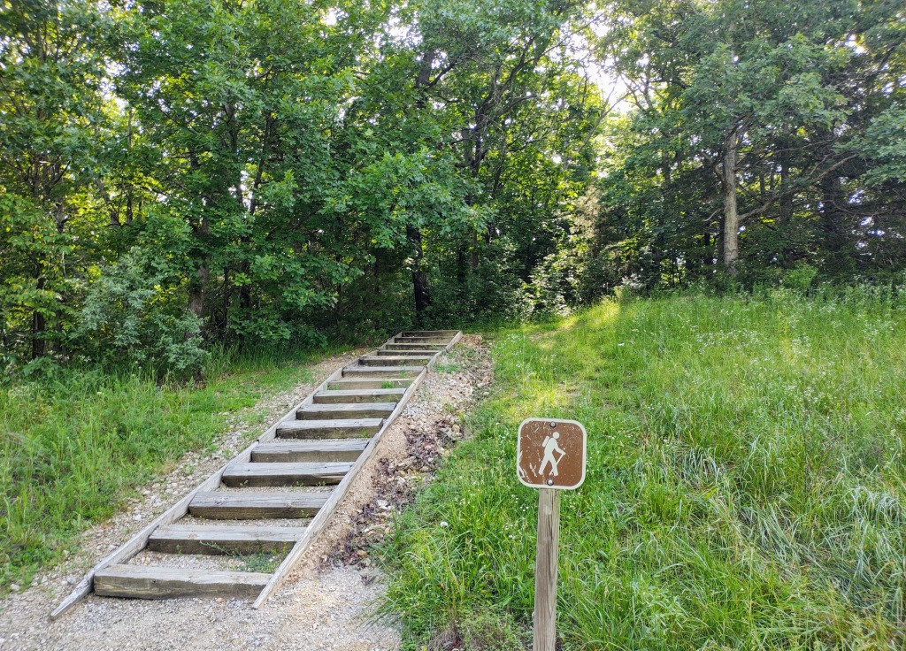 Trail coming out of the woods.  Steps made from railroad ties coming down a short slope.