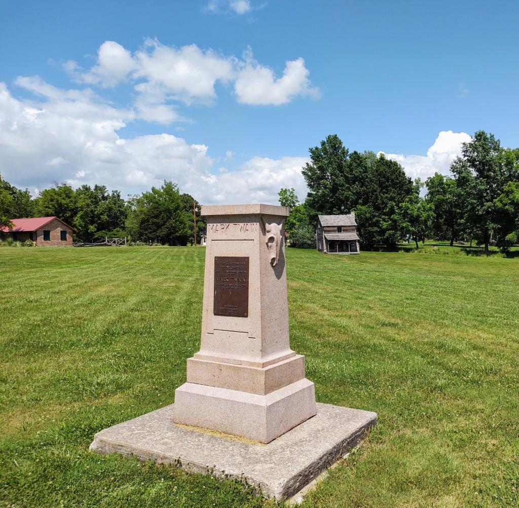 Granite marker where the cabin originally stood.