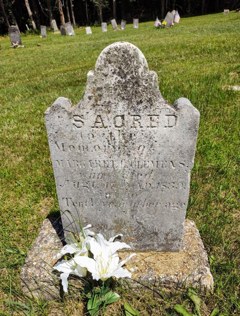 Gravestone of Mark Twain's sister.