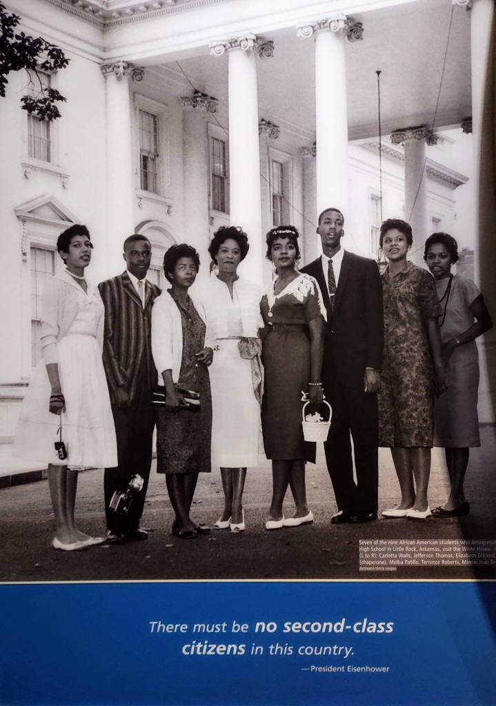 """Picture of a group of African-Americans in front of the White House.  There is an Eisenhower quote underneath - """"The must be no second-class citizens in this country."""""""