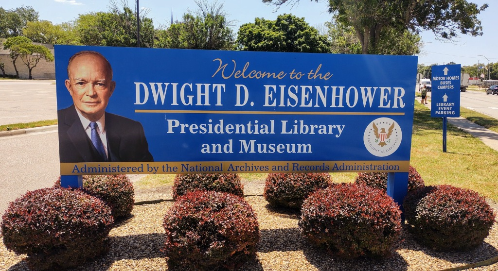 Welcome to the Dwight D. Eisenhower Presidential Library and Museum sign.