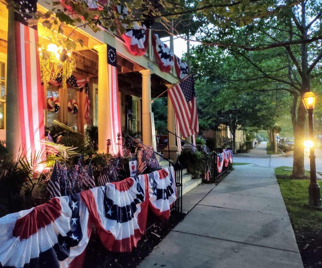 Home with 4th of July decorations in the evening.