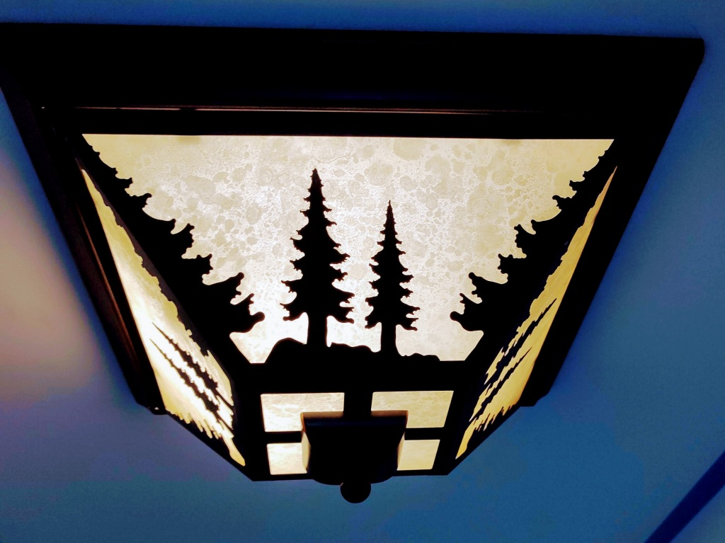 Ceiling light with trees.