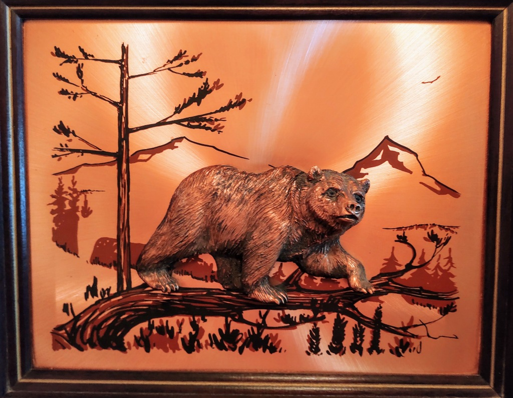 Copper picture of bear.