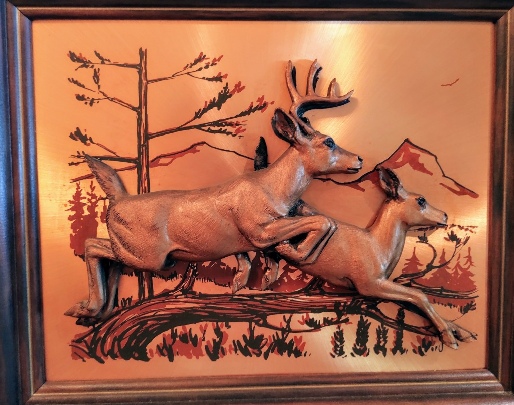 Copper picture of deer.