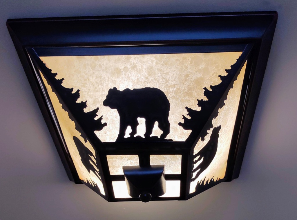 Ceiling light with bears.