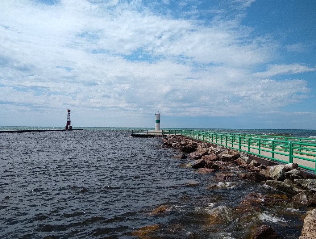 View of Penwater Lighthouse out to Lake Michigan.