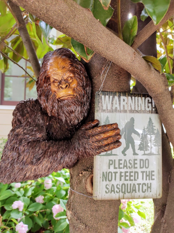 """Sasquatch holding a sign that says, """"Please do not feed the Sasquatch."""""""