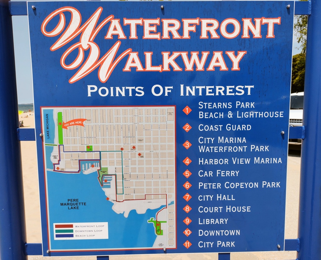 Sign showing points of interest on Ludington's Waterfront Walkway.