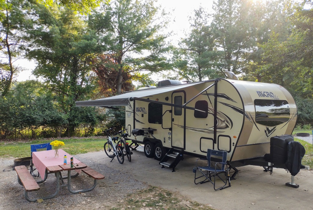 Our Micro Lite camper and campsite at Sugar Bottom.