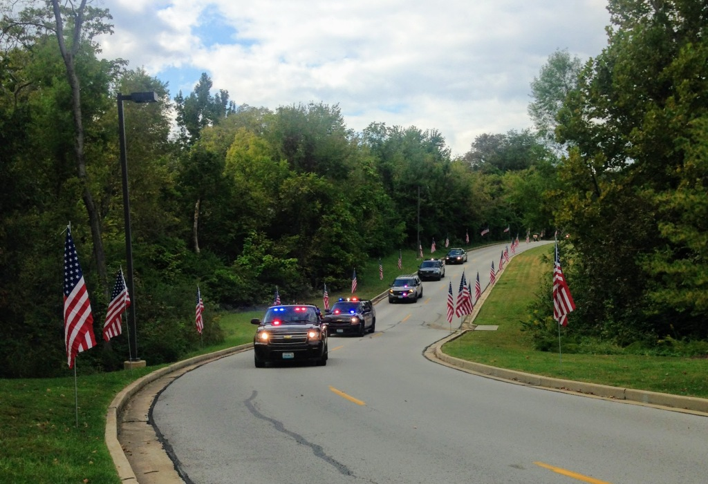 Car escort of the Tunnel to Towers mobile  exhibit.