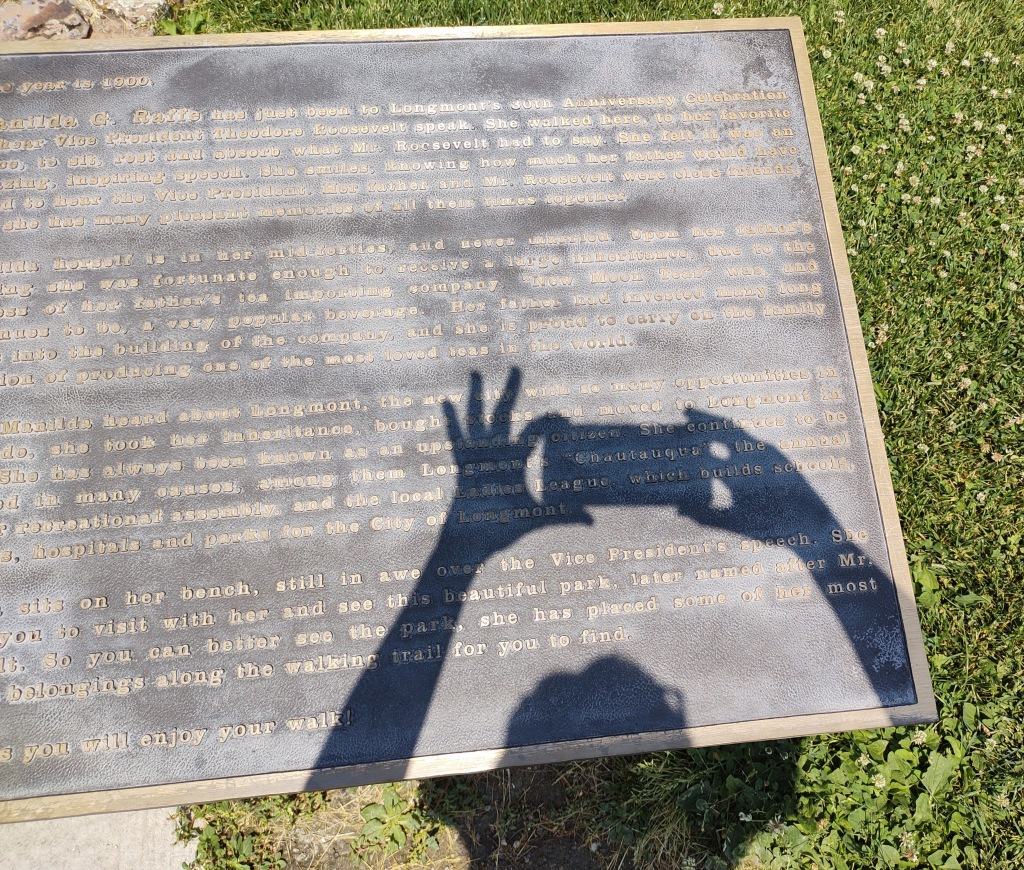 Taking a picture of a sign.  The result is a shadow on the plaque.