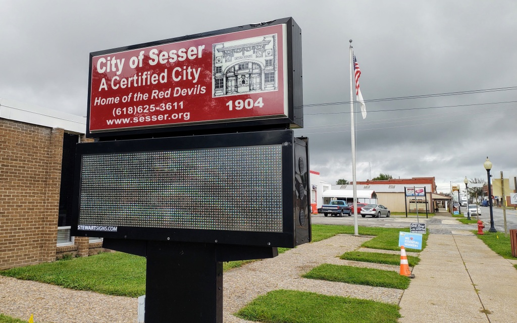"""Sign which says """"City of Sesser  A Certified City."""""""